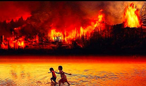Crianças fugindo do fogo na Amazônia. Sem mais.