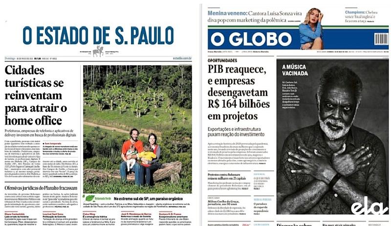 Nas capas d'O Estado de S. Paulo e do carioca O Globo, manifestações tiveram menos destaque que matérias sobre turismo e PIB