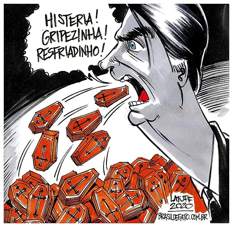 """Charge faz referência à declaração de Bolsonaro de que a covid-19 seria """"uma gripezinha"""""""